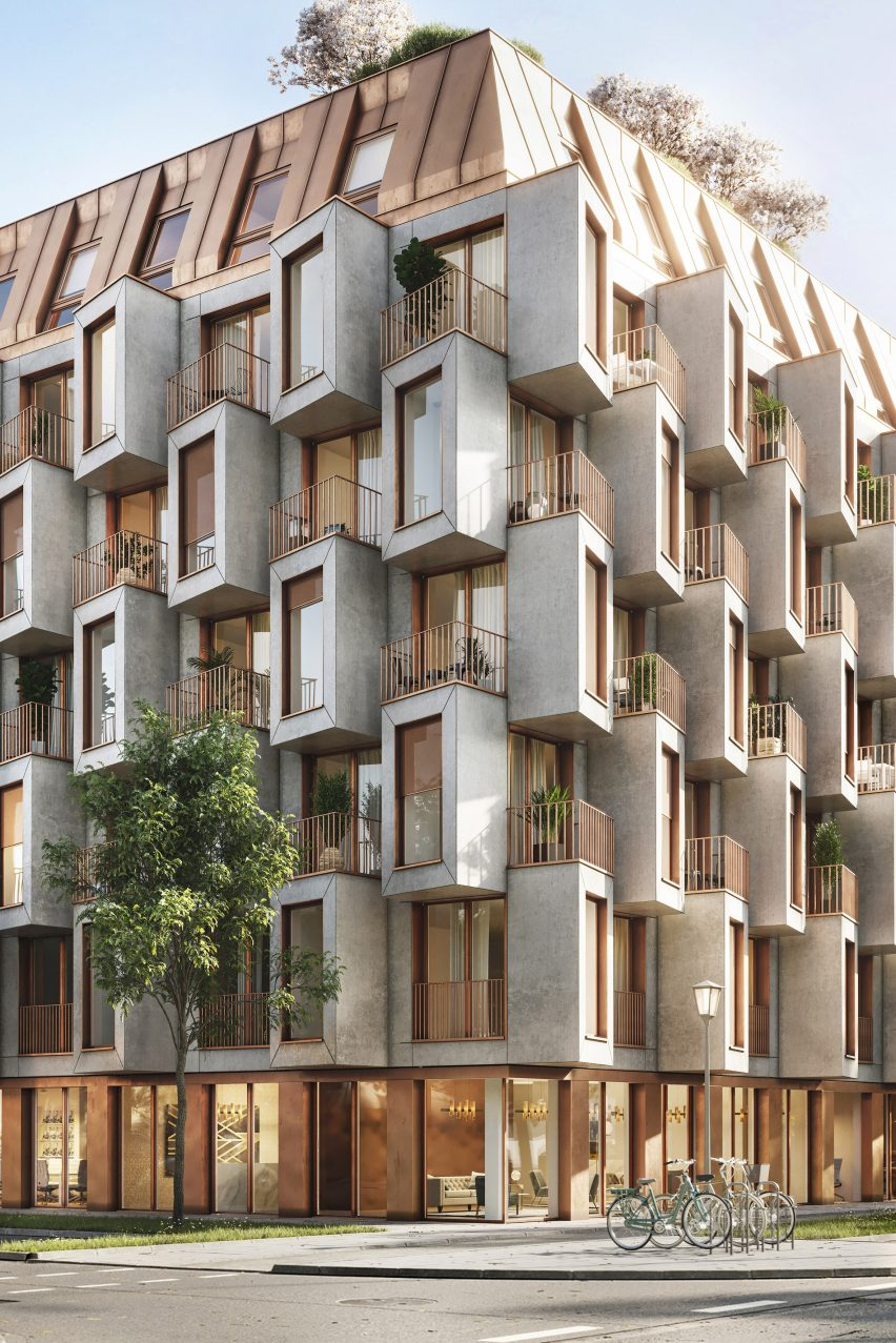 Protruding windows provide privacy on balconies
