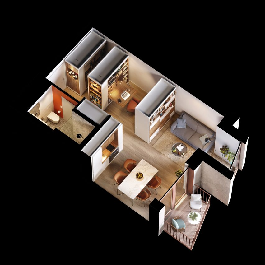 Axonometric drawing of an apartment by UNStudio
