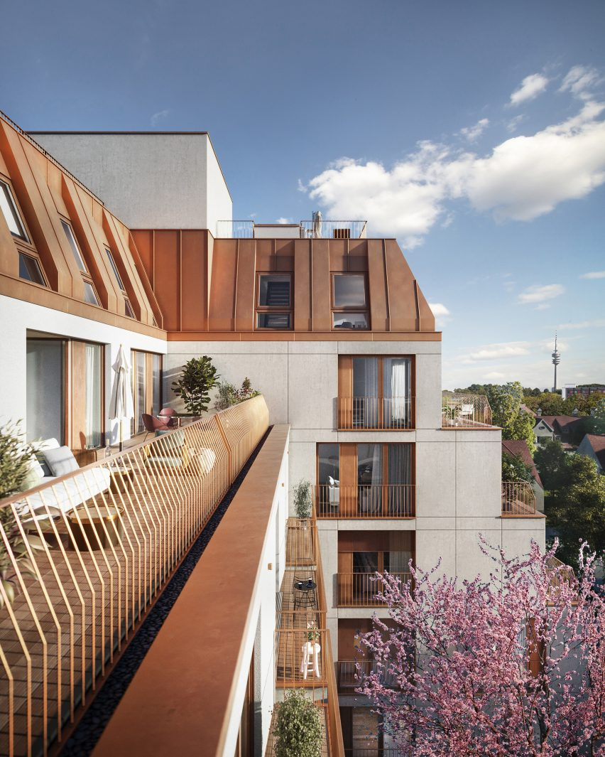 Brown metal clads the roof of the design by UNStudio