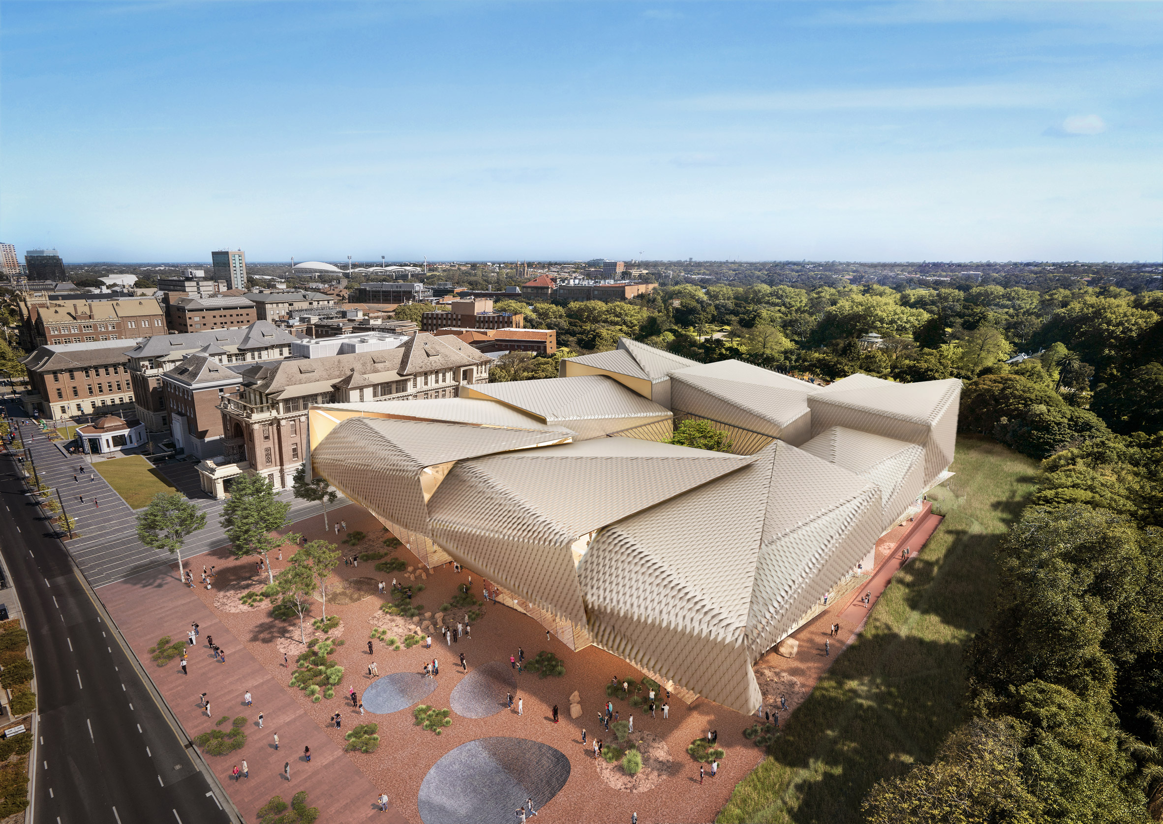 An aerial visual of a museum