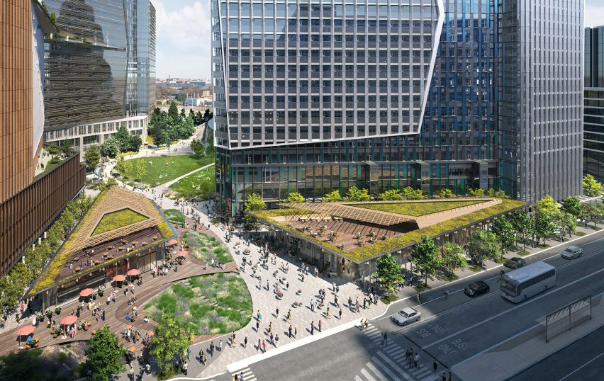 Office and retail area of the complex by NBBJ