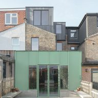 The green aluminium-clad extension of a house in London by DeDraft
