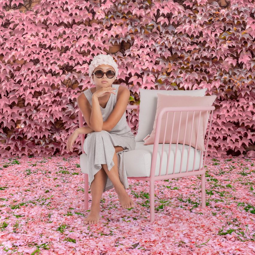 Pink outdoor chair by Made Studio for Diabla