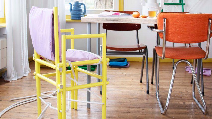 Knopstoel dining chair by Hanna Kooistra from Artez school show