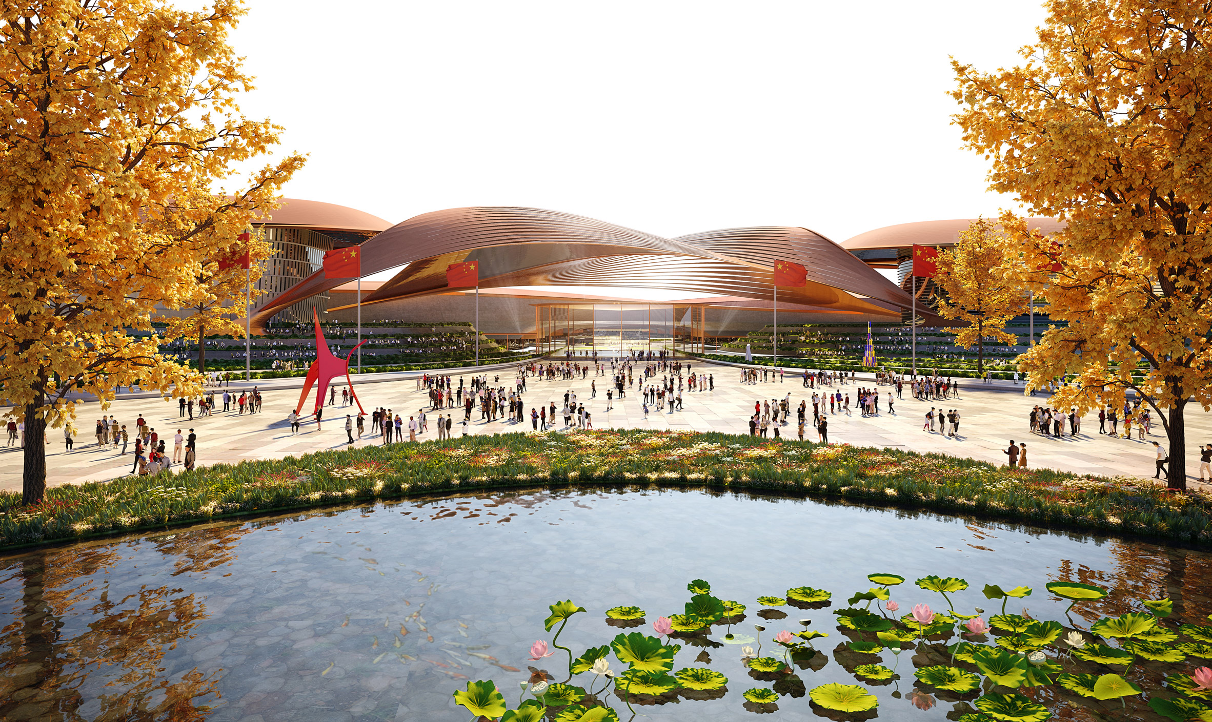 A copper-coloured exhibition centre by Zaha Hadid Architects