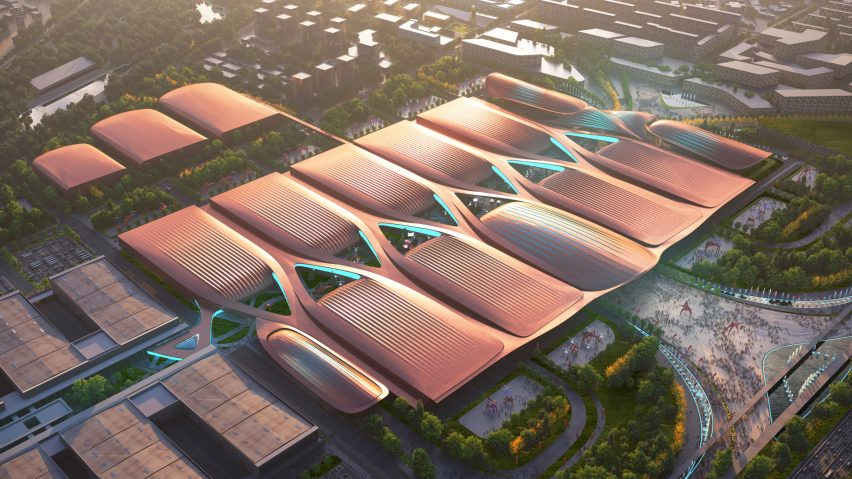 An aerial visual of a copper-coloured exhibition centre