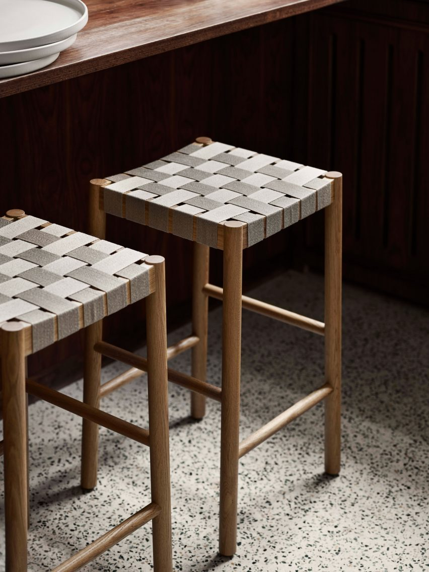 Betty TK8 stool in oak and natural webbing by Thau & Kallio for &Tradition