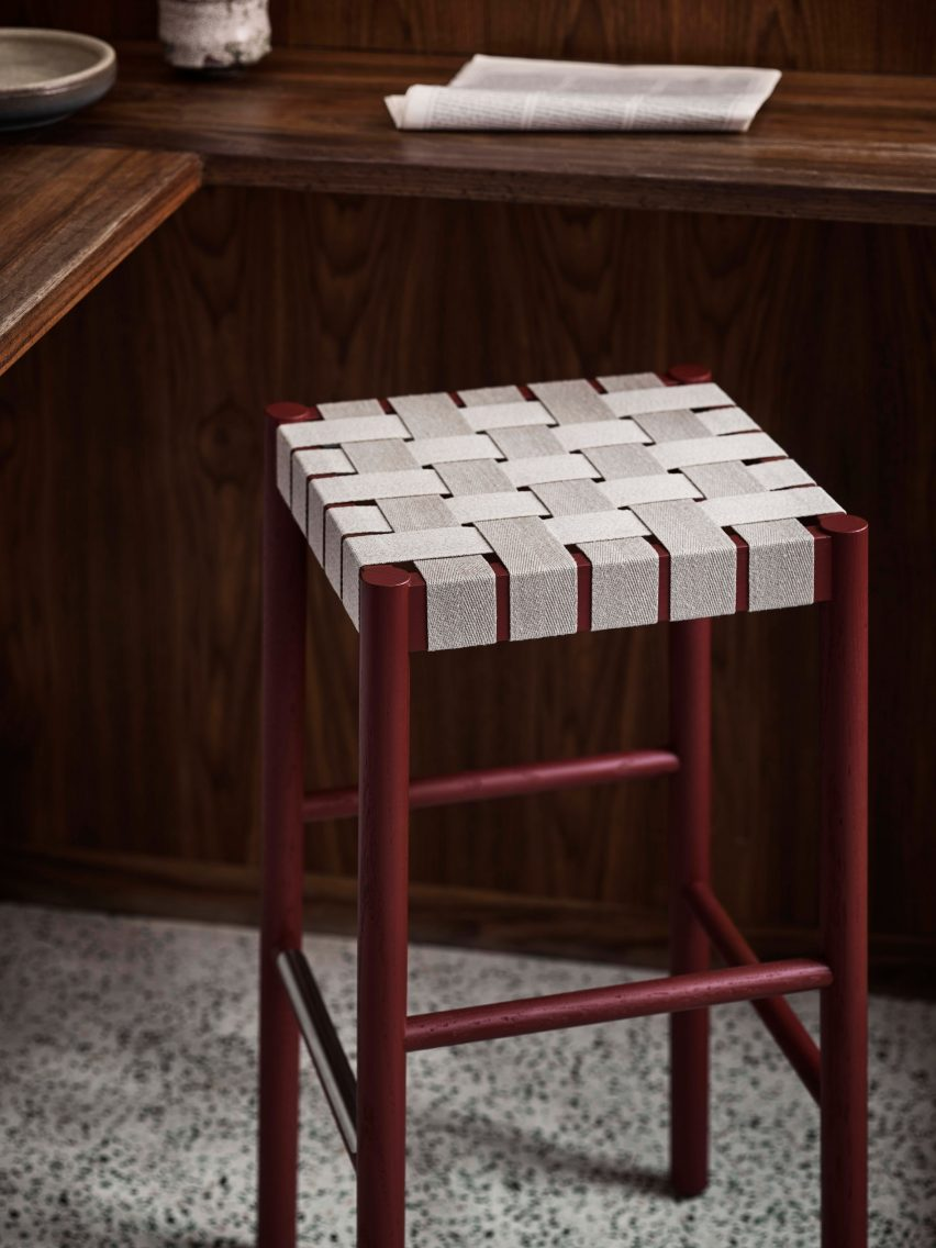 Betty TK4 stool in maroon and natural webbing by Thau & Kallio for &Tradition