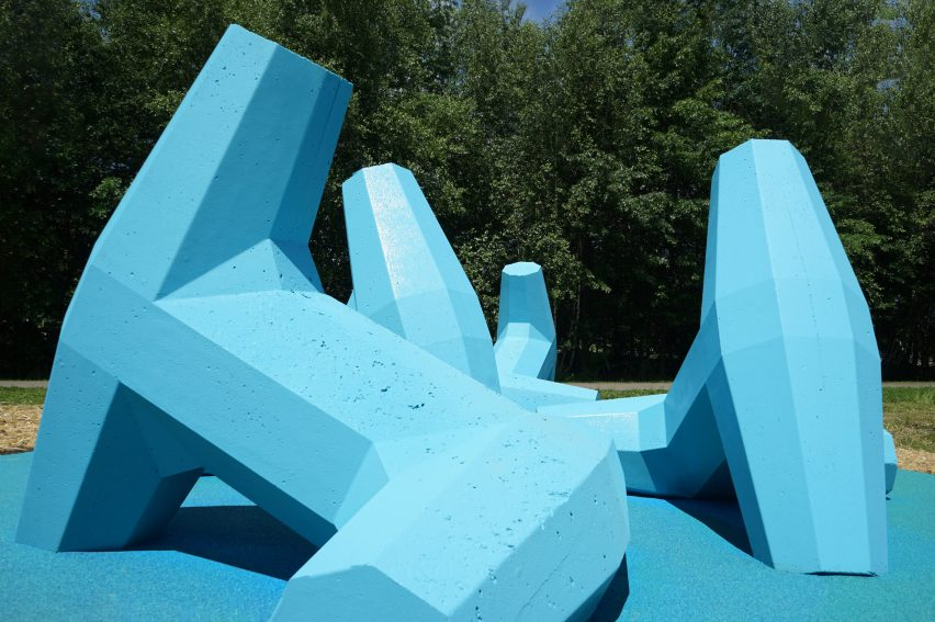 Kempster and Jamrozik created a playground from blue dolosse