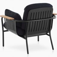 The back of a cushioned outdoor chair by Søren Rose for Gandiablasco