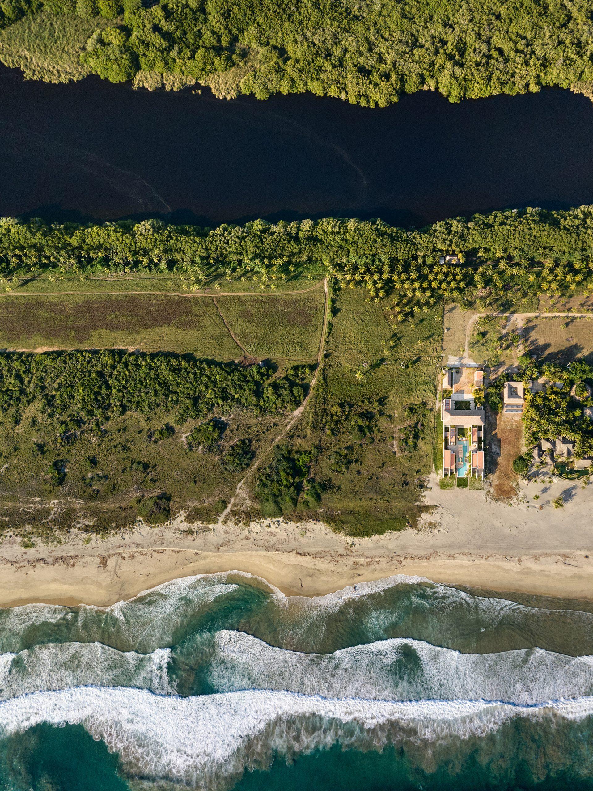 An aerial view of Casa Cova's setting