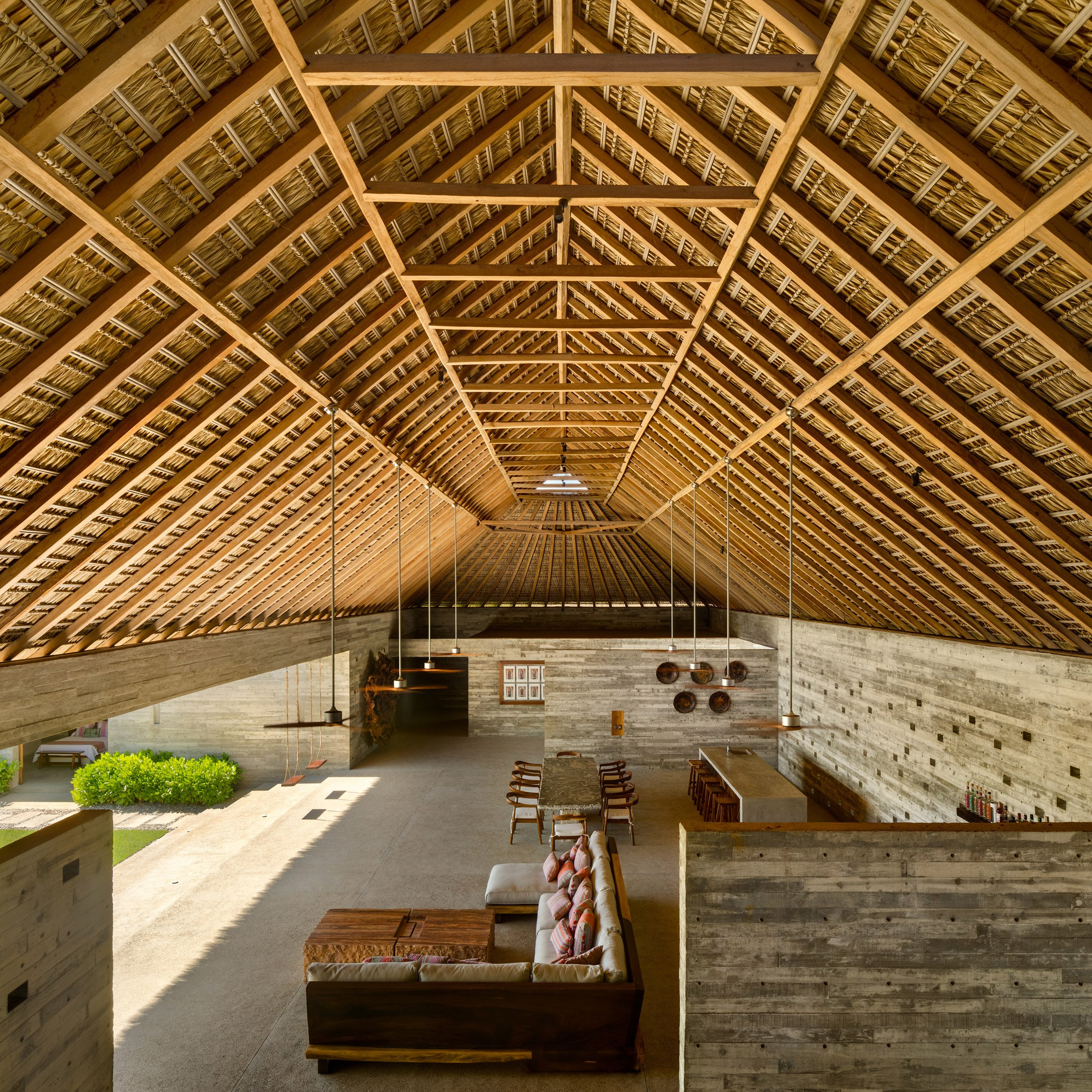 Casa Cova's thatched roof from the inside