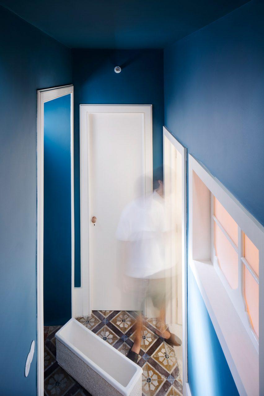 Blue stairwall of the Casa da Beiramar