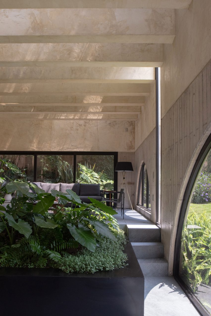 Arched windows of house in Mexico
