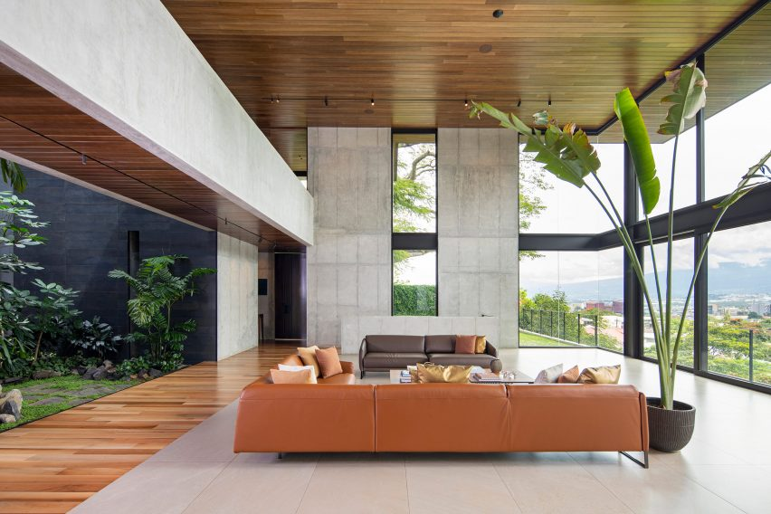 Open plan living area of house in Costa Rica