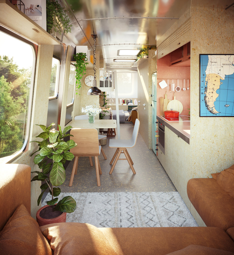 Rendering of a guest house in an Airstream trailer