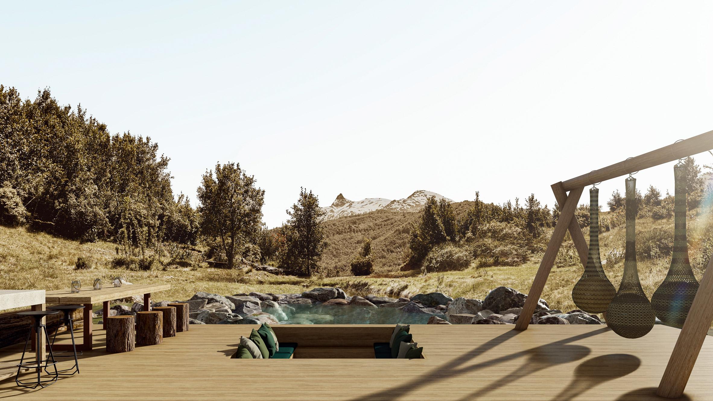 Rendering of a terrace in Patagonia