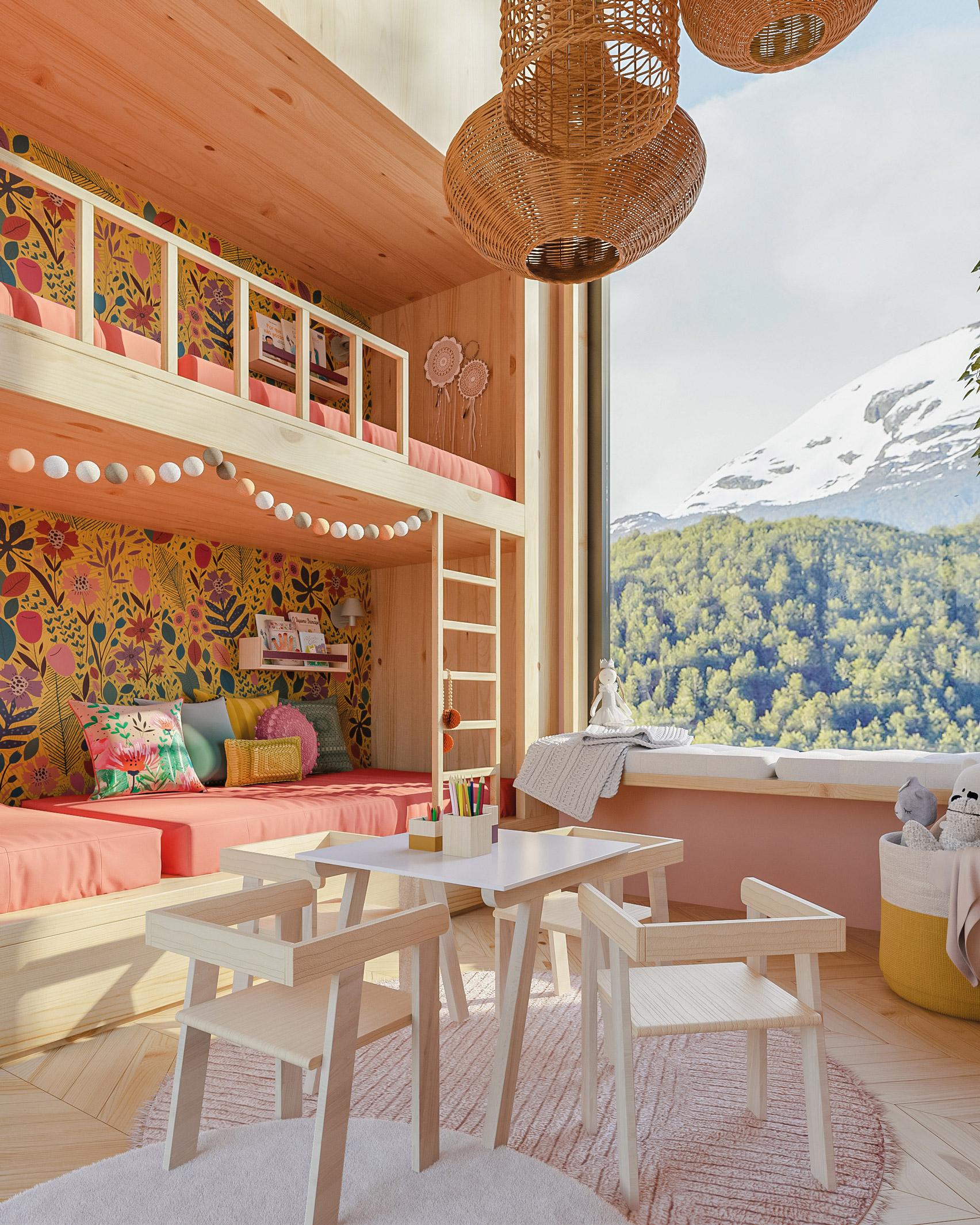 Renderings of a children's bedroom for exhibition Casa NaToca