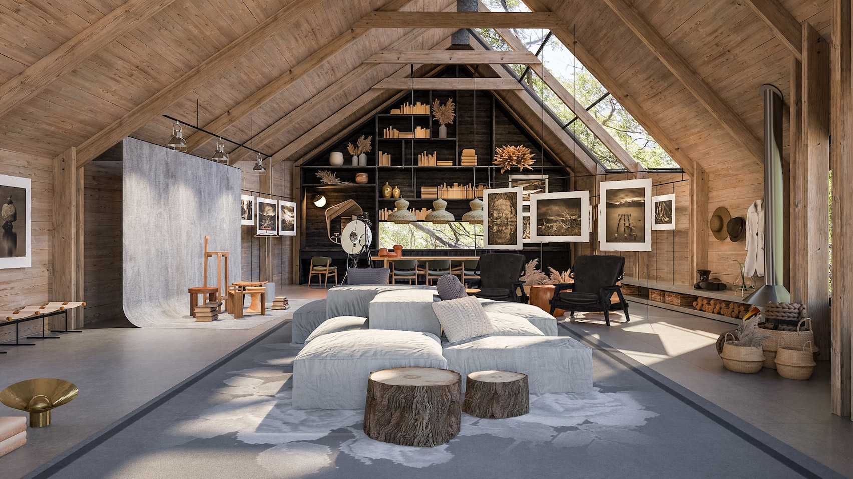 Rendering of a guest studio for Mapu in Chile