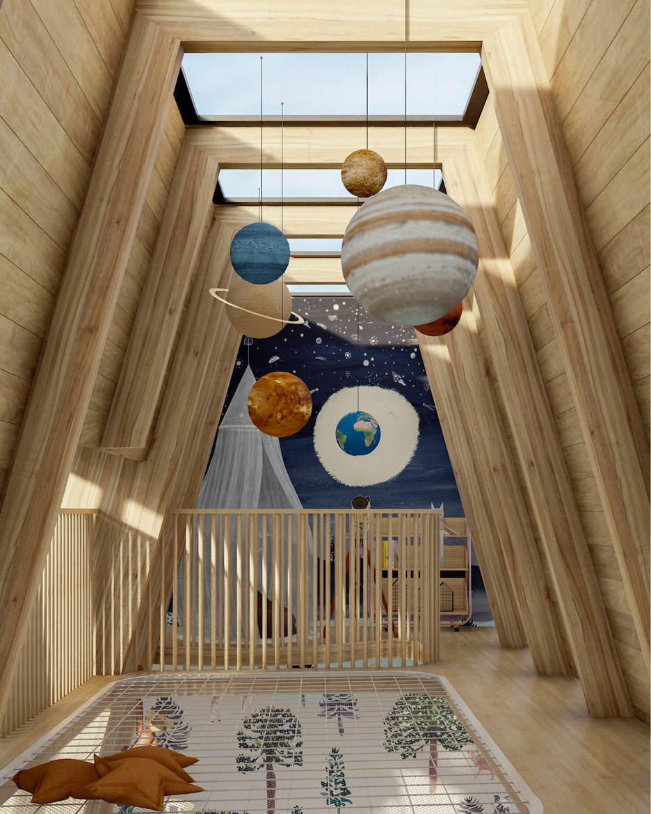 Rendering of a playroom with skylights and a net floor