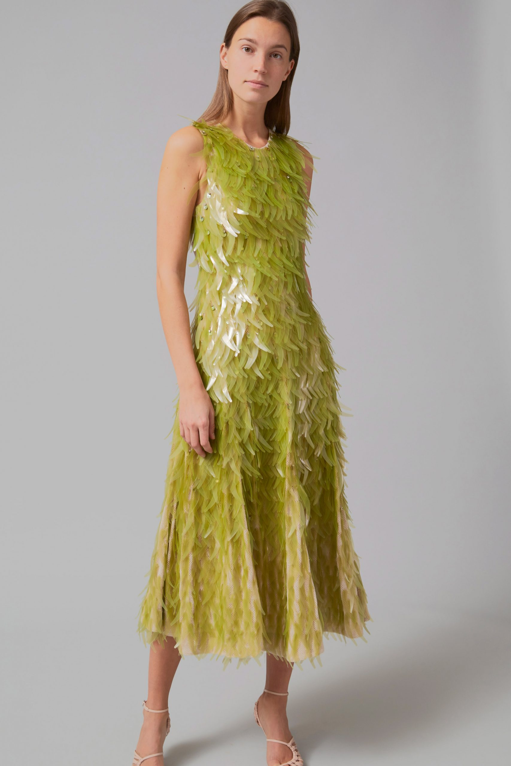 Close up of algae sequin dress by Phillip Lim as part of One X One project