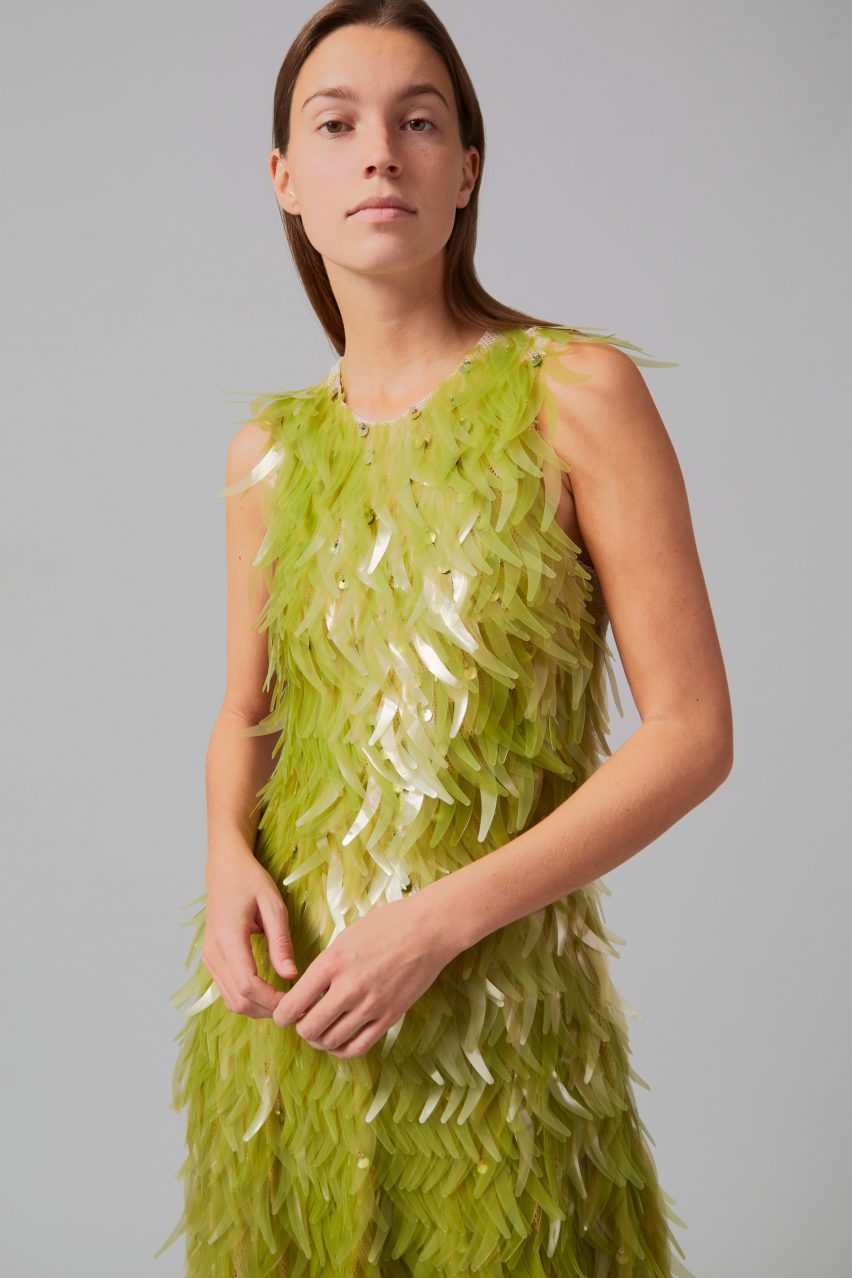 Close-up of algae sequins dress by Phillip Lim and Charlotte McCurdy as part of One X One project