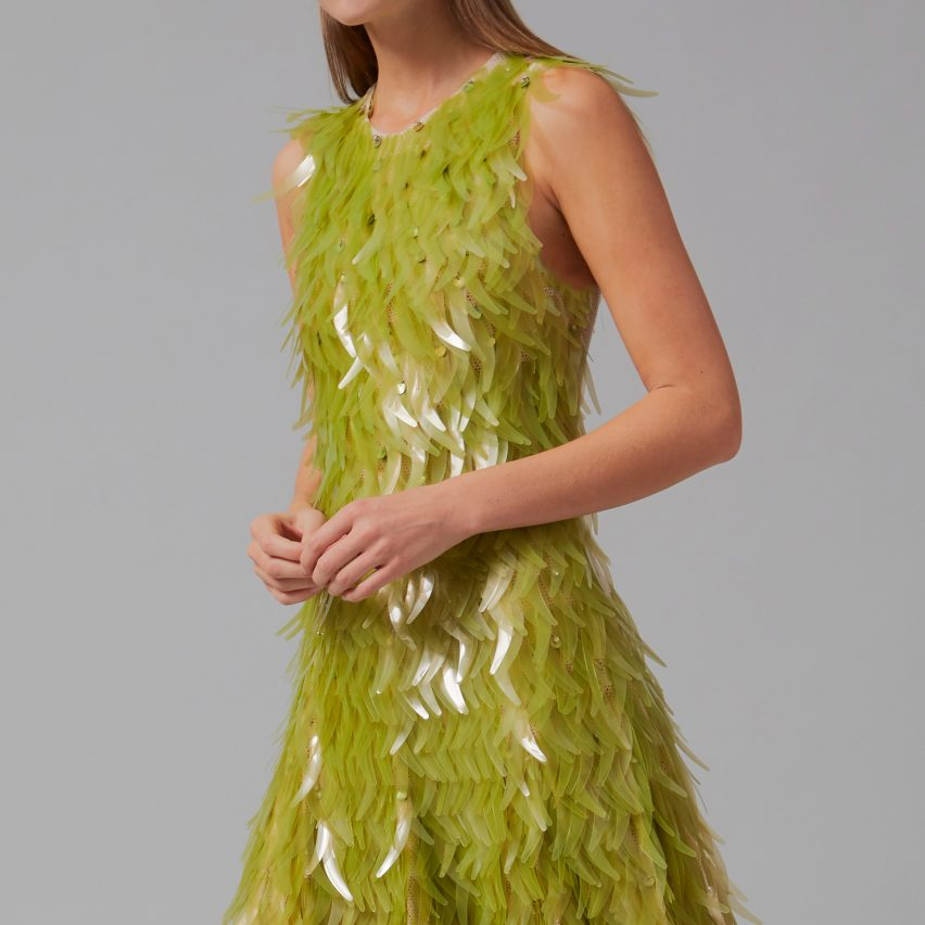 Close up of algae sequin dress by Phillip Lim and Charlotte McCurdy as part of One X One project