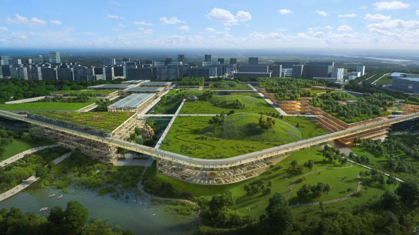 A visual of green-roofed buildings by OMA for a site in Chengdu