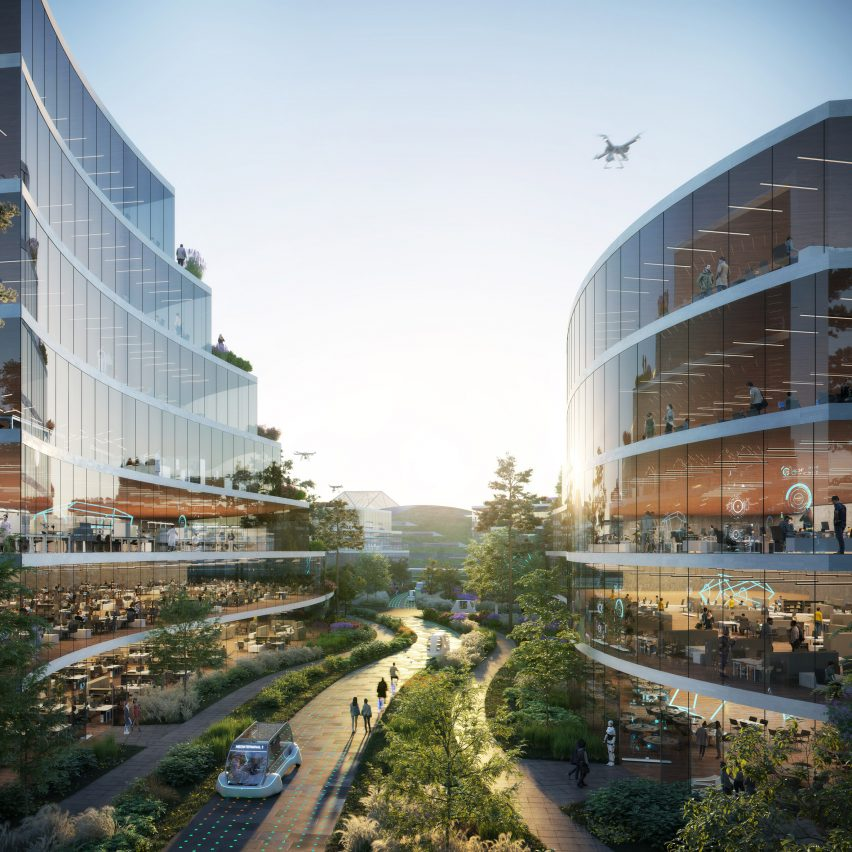 A visual of glass buildings in Chengdu for a masterplan by OMA and GMP