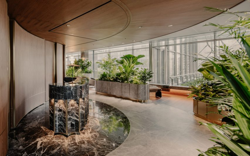 Marble reception area of Citi Wealth Hub by Ministry of Design