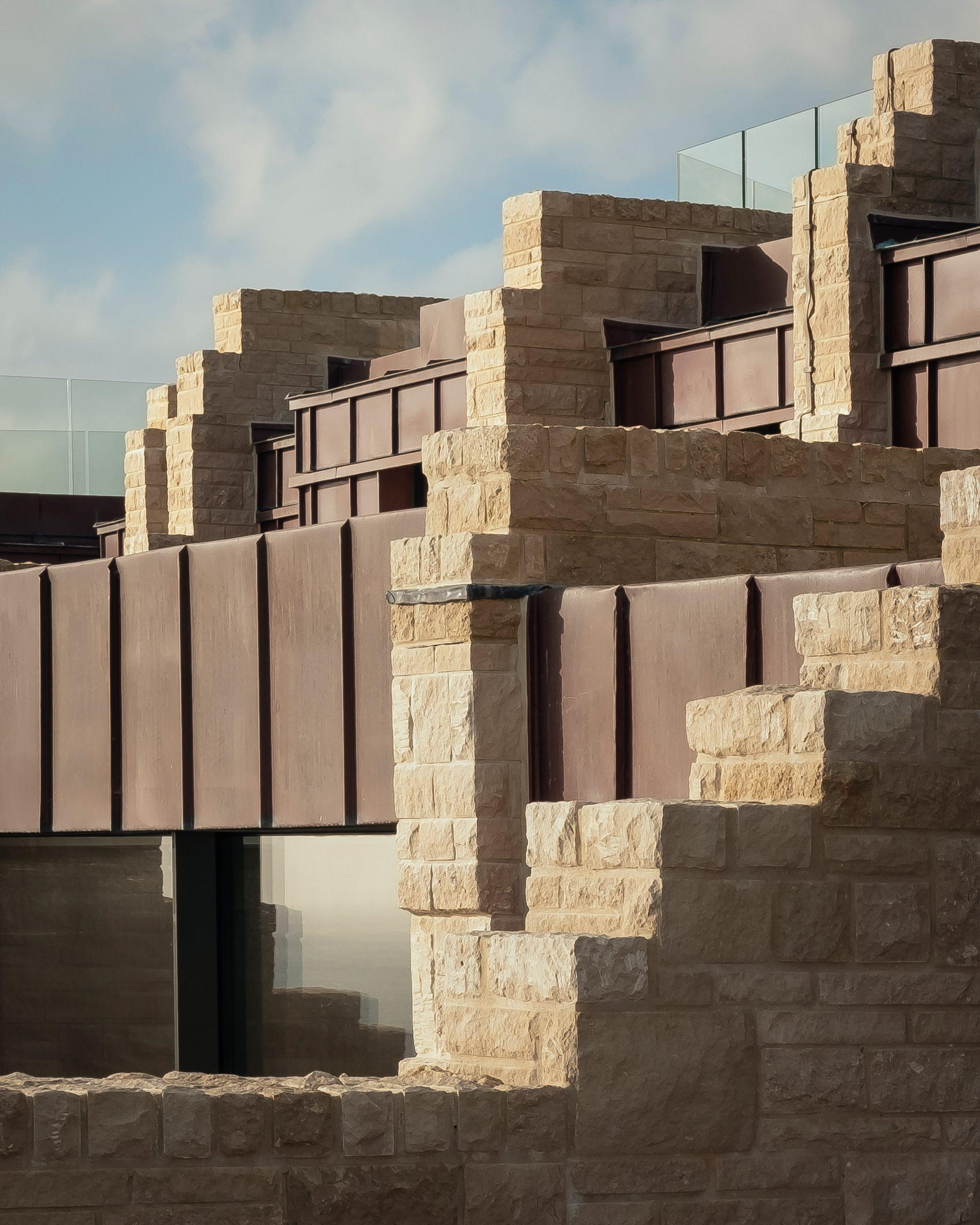 Stone blocks create a rugged look