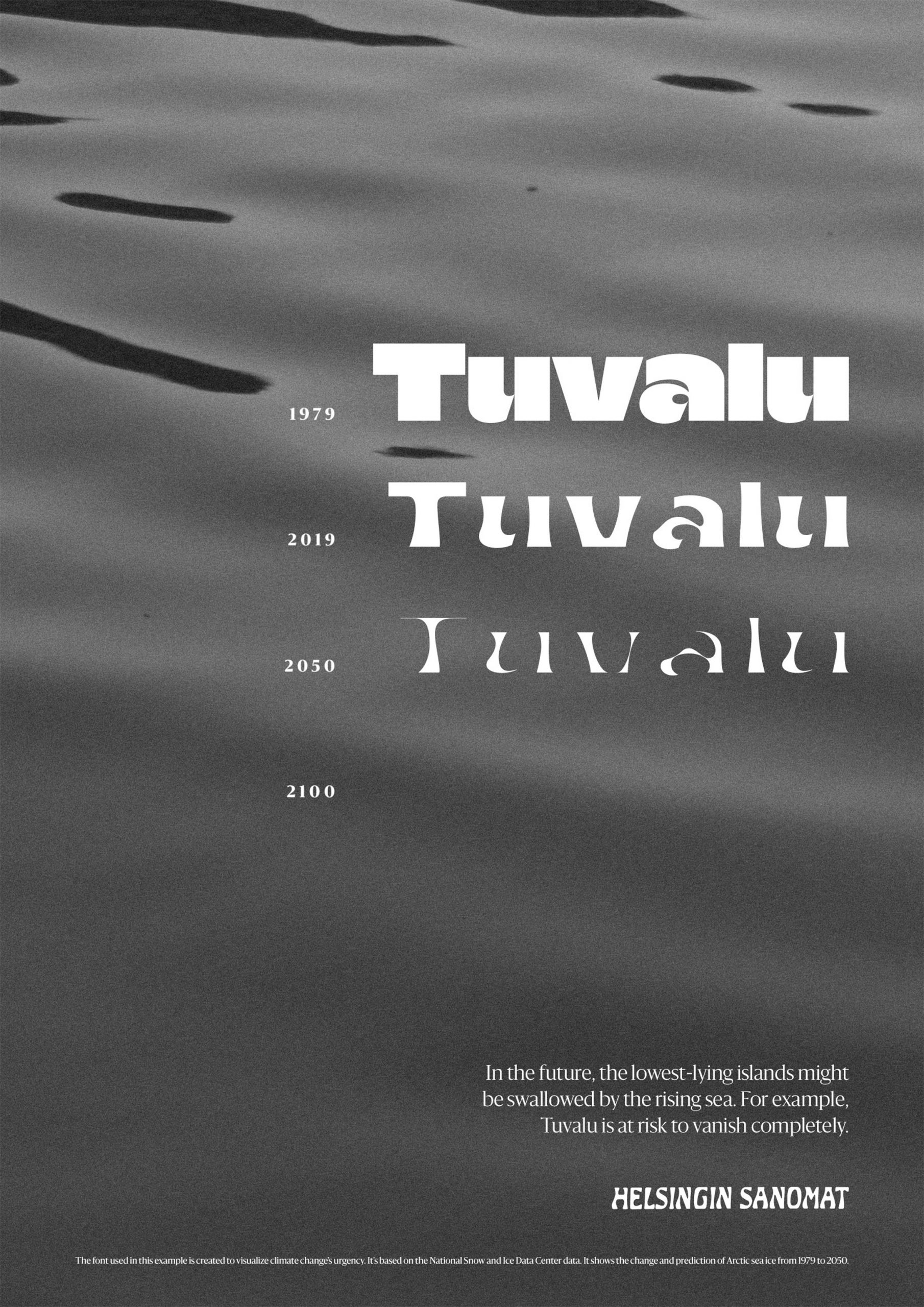 Poster illustrating rising sea levels using a variable font by Helsingin Sanomat
