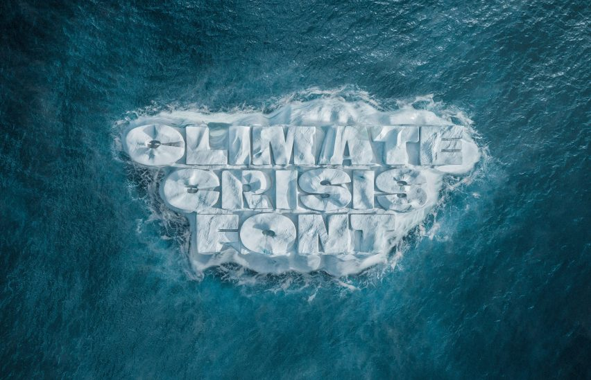 Rendering of the Climate Change Font by Helsingin Sanomat in arctic ice