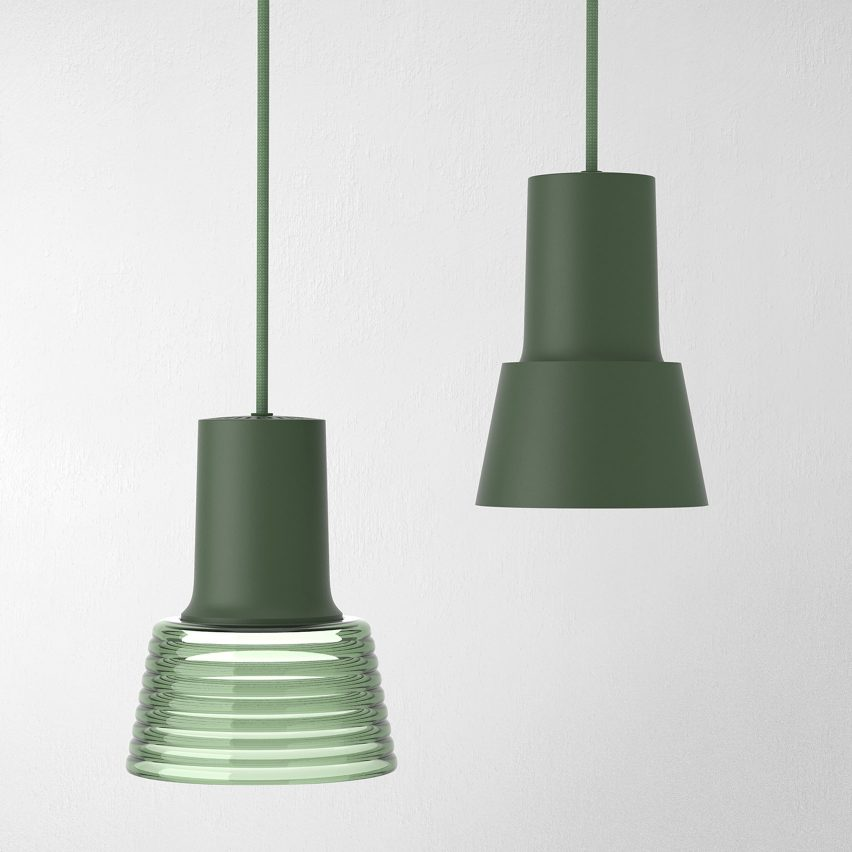 Compose pendant by Zero Lighting in green