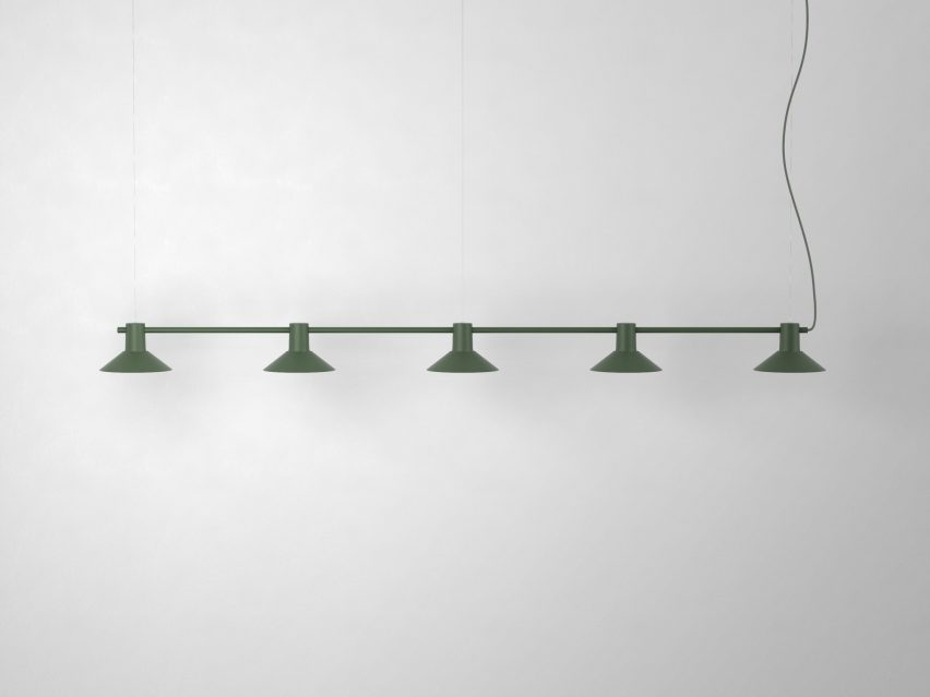 Compose Rail with green metal finish and funnel shade by Jens Fager for Zero Lighting