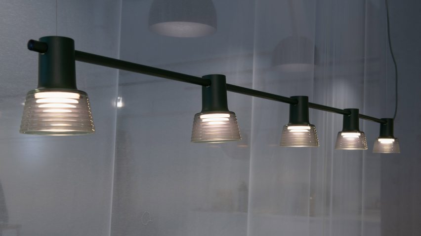 Compose Rail with rippled glass shades by Jens Fager