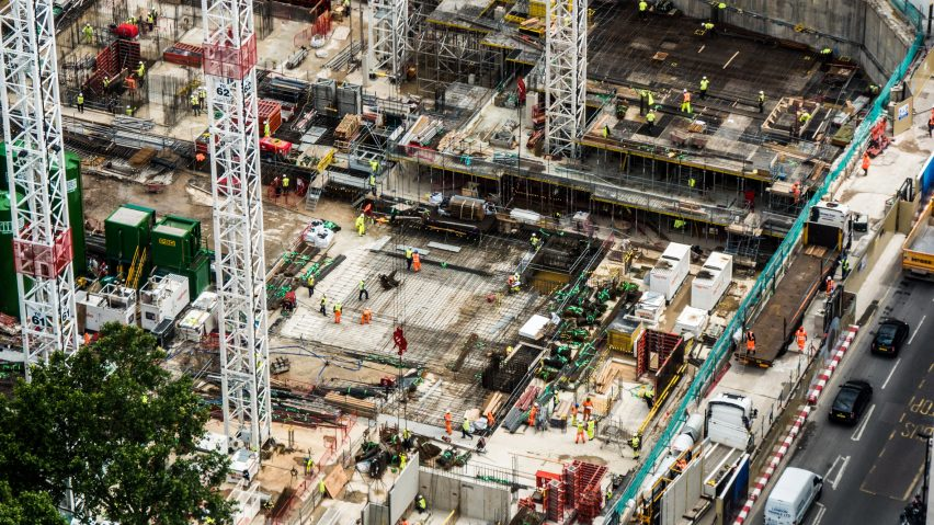 An aerial view of a construction site in London
