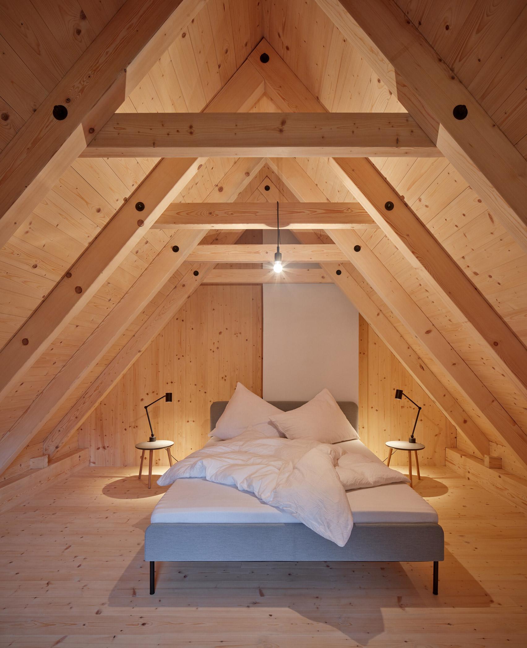 Wood-clad bedroom