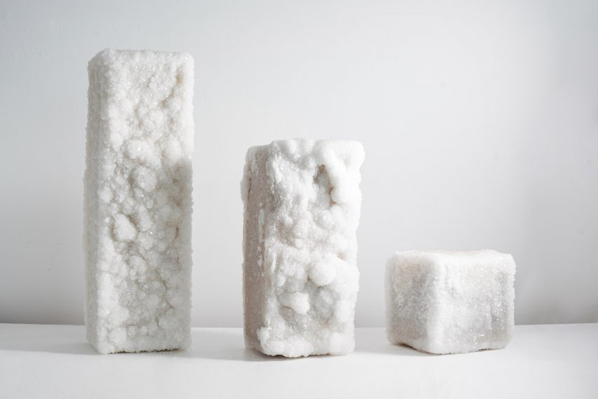 Crystal-covered salt blocks