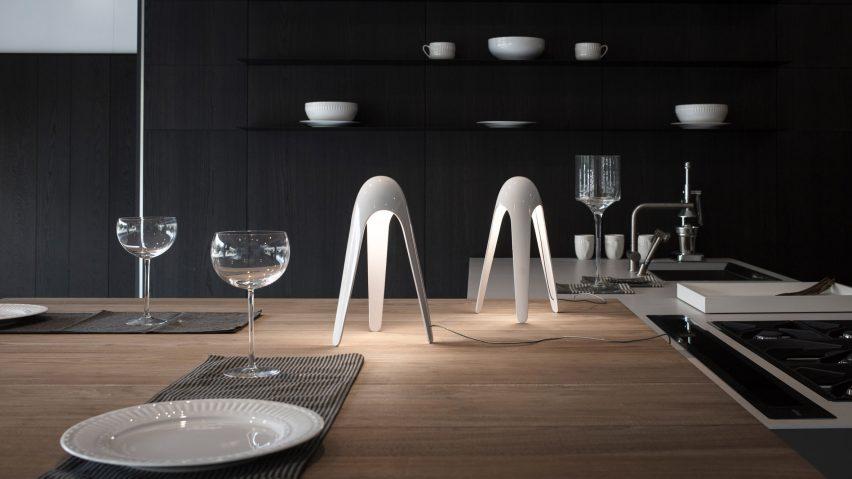 Karim Rashid's Cyborg light in white on a dinner table
