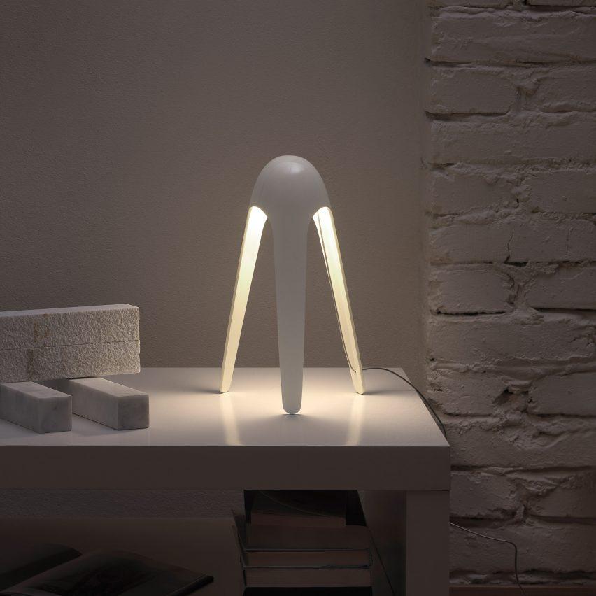 White Cyborg lamp by Karim Rashid
