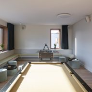 Pool table in lounge space
