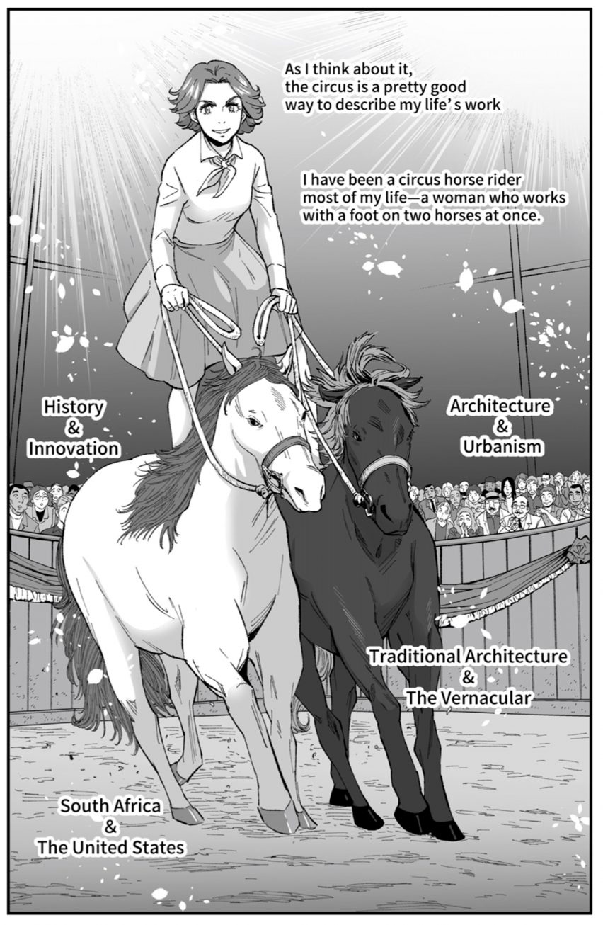 Manga showing Denise Scott Brown as a circus rider on two horses