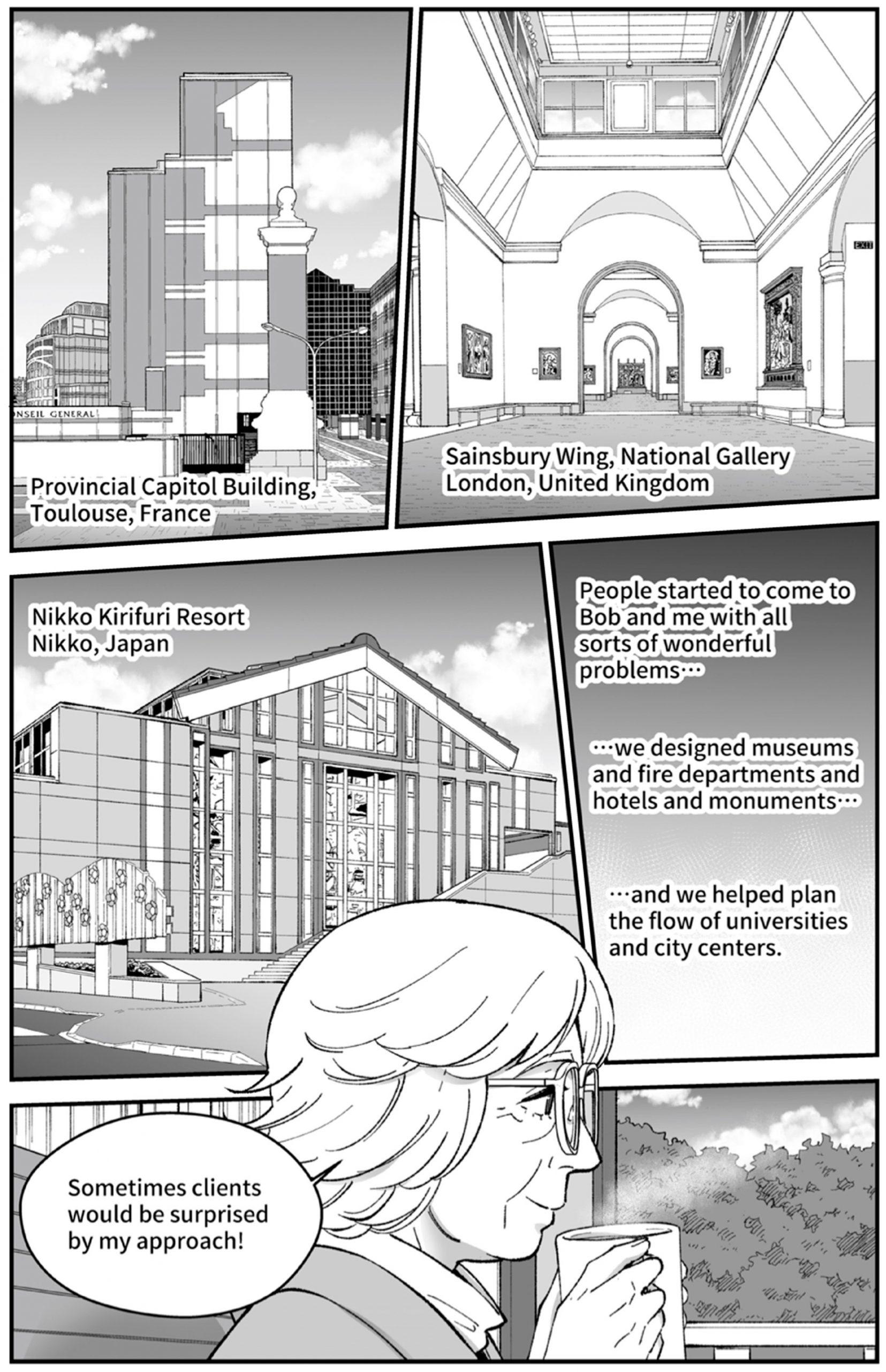 Scott Brown and Venturi buildings drawn in manga style
