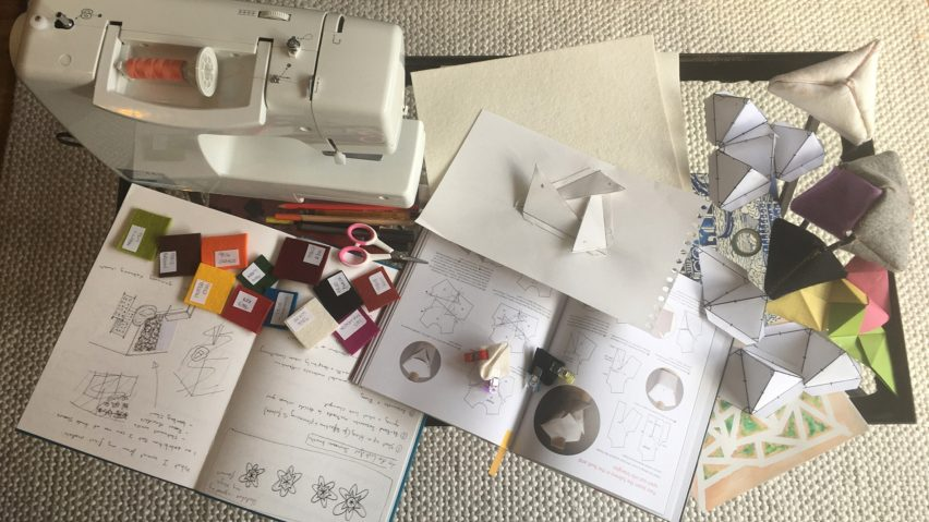 Sewing machine on coffee table