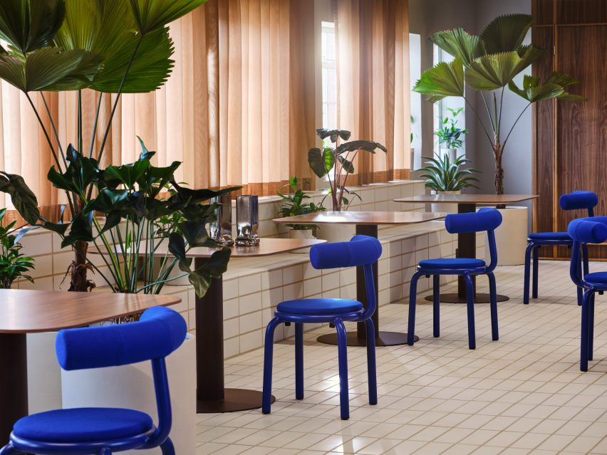 Tiled floor with klein blue chairs and plants in Douglas House