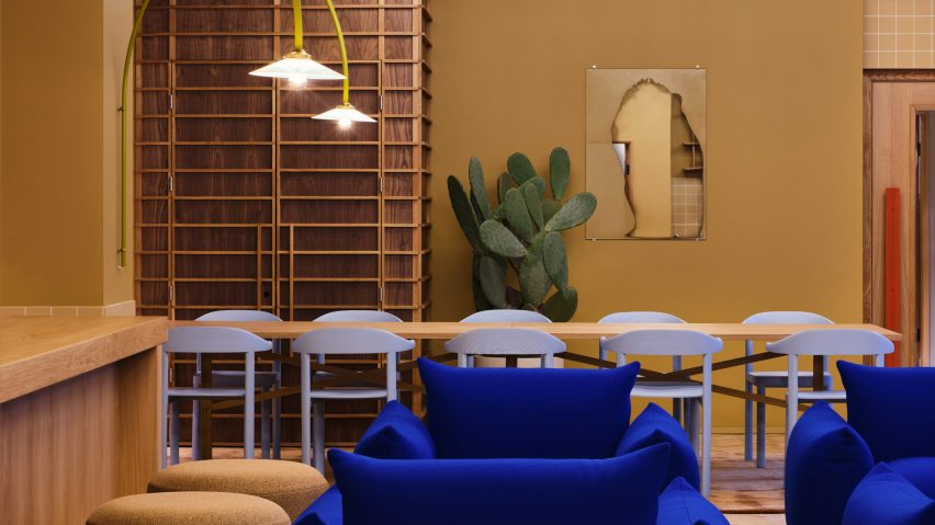 Klein blue chairs and beige walls in Douglas House