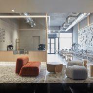 Terrazzo floor and wooden coffee bar