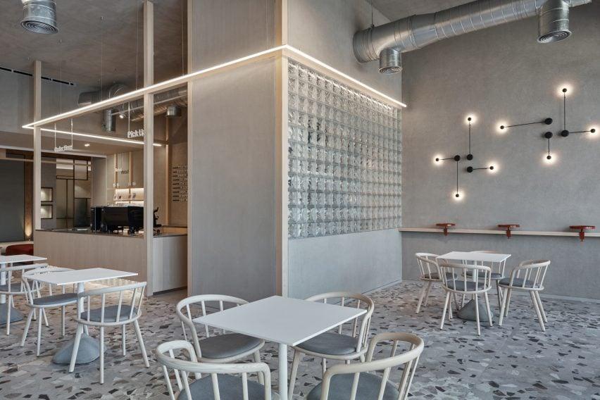 Conctrete and terrazzo cafe in Dubai