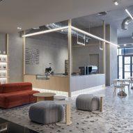 Wood coffee bar with LED lightstrip